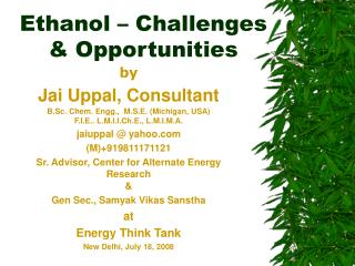Ethanol   Challenges   Opportunities