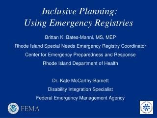 Inclusive Planning:  Using Emergency Registries