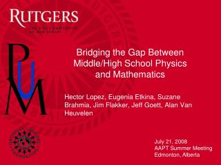 Bridging the Gap Between Middle/High School Physics and Mathematics