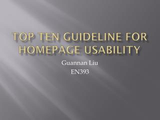 Top Ten Guideline for Homepage Usability