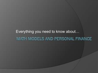 Math Models and Personal Finance
