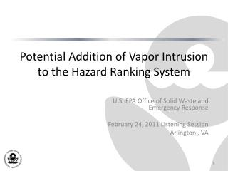 Potential Addition of Vapor Intrusion to the Hazard Ranking System