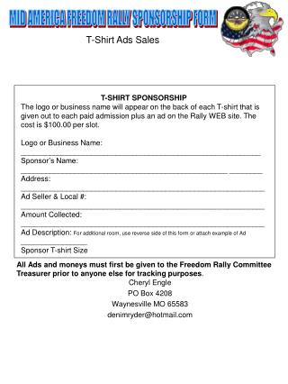 MID AMERICA FREEDOM RALLY SPONSORSHIP FORM