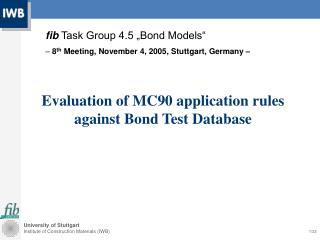 Evaluation of MC90 application rules against Bond Test Database