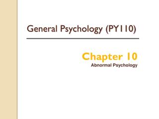 General Psychology (PY110)