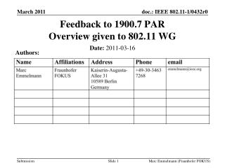 Feedback to 1900.7 PAR Overview given to 802.11 WG