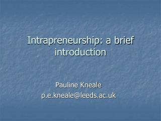 Intrapreneurship: a brief introduction