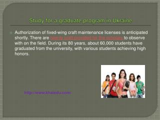 Study for a graduate program in Ukraine