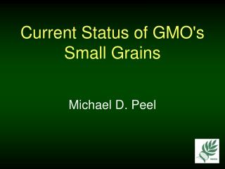 Current Status of GMO's Small Grains