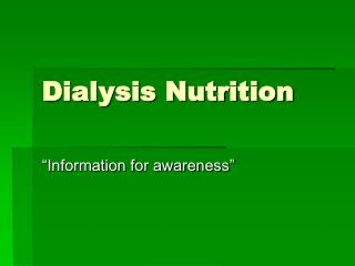 Dialysis Nutrition