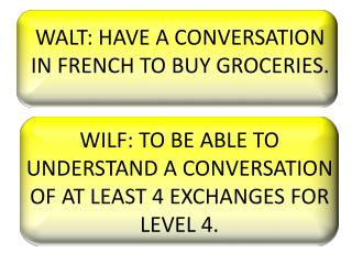 WALT: HAVE A CONVERSATION IN FRENCH TO BUY GROCERIES.
