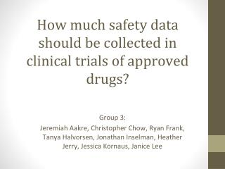 How much safety data should be collected in clinical trials of approved drugs?