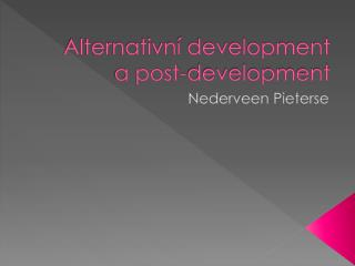Alternativní development a post-development