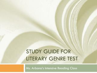 Study Guide for Literary Genre Test
