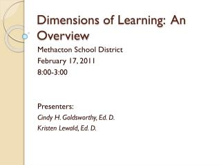 Dimensions  of Learning:  An Overview