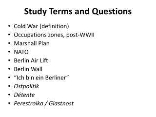 Study Terms and Questions