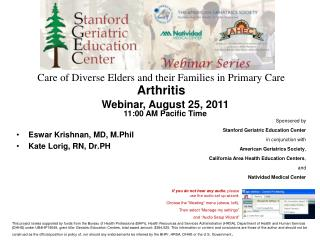 Care of Diverse Elders and their Families in Primary Care  Arthritis