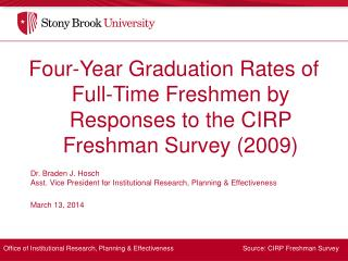 Four-Year Graduation Rates of Full-Time Freshmen by Responses to the CIRP Freshman Survey (2009)
