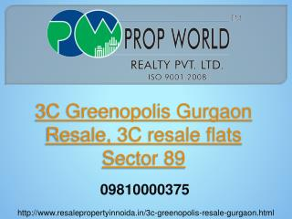 3C Greenopolis Gurgaon Resale, 3C resale flats Sector 89