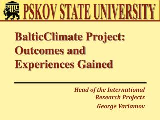 BalticClimate  Project: Outcomes and Experiences Gained
