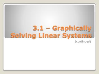 3.1 – Graphically Solving Linear Systems