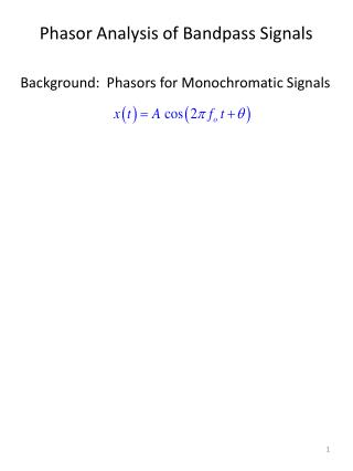 Phasor  Analysis of  Bandpass  Signals