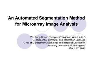 An Automated Segmentation Method for Microarray Image Analysis