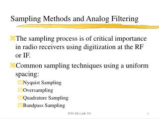 Sampling Methods and Analog Filtering