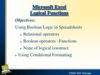 Microsoft Excel Logical Functions