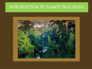 INTRODUCTION TO PLANTS FIELD STUDY