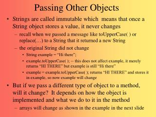 Passing Other Objects