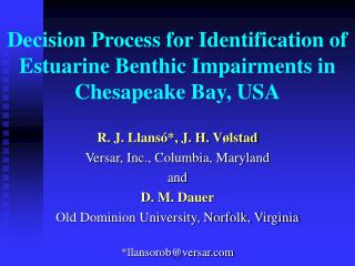Decision Process for Identification of Estuarine Benthic Impairments in Chesapeake Bay, USA