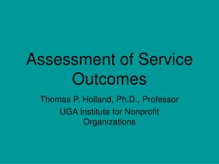 Assessment of Service Outcomes