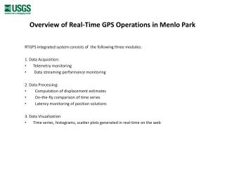 Overview of Real-Time GPS Operations in Menlo Park