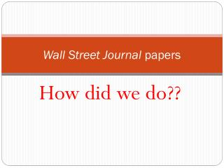 Wall Street Journal  papers