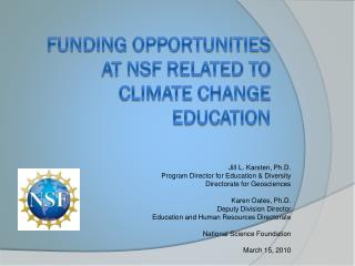 Funding opportunities at nsf related to  Climate change education