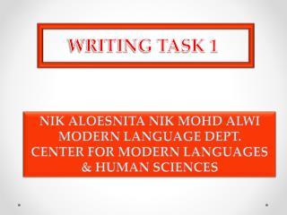 NIK ALOESNITA NIK MOHD ALWI MODERN LANGUAGE DEPT. CENTER FOR MODERN LANGUAGES & HUMAN SCIENCES
