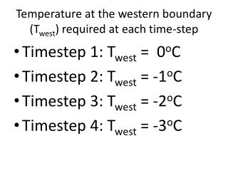 Temperature at the western boundary ( T west ) required at each time-step