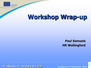 Workshop Wrap-up