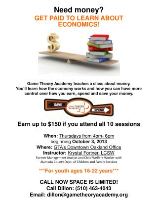 Need money? Get paid to learn about ECONOMICS!