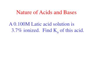 Nature of Acids and Bases