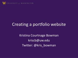Creating a portfolio website