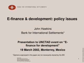 E-finance & development: policy issues