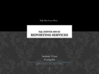 SQL Server 2008 R2 REPORTING SERVICES