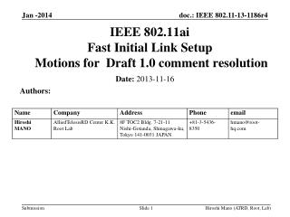 IEEE 802.11ai Fast Initial Link Setup  Motions for  Draft 1.0 comment resolution