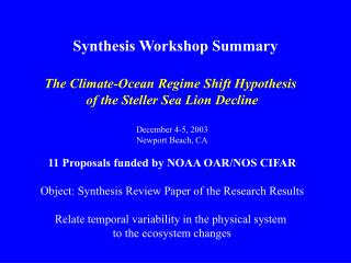 Synthesis Workshop Summary