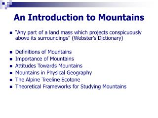 An Introduction to Mountains