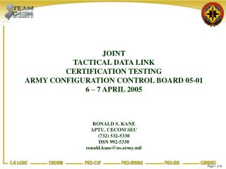 JOINT  TACTICAL DATA LINK CERTIFICATION TESTING ARMY CONFIGURATION CONTROL BOARD 05-01
