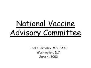 National Vaccine Advisory Committee