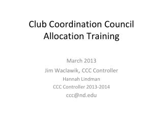 Club Coordination Council Allocation Training